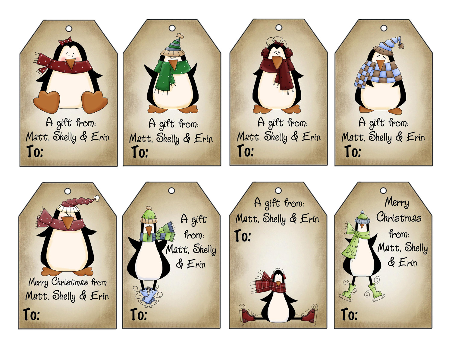 Printable personalized winter penguins christmas gift tag set zoom negle Images