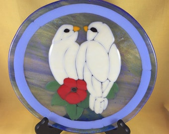 fused glass love bird decorative plate