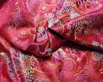 Red/Magenta Chrysanthemum Paisley Brocade Fabric 4 yard piece