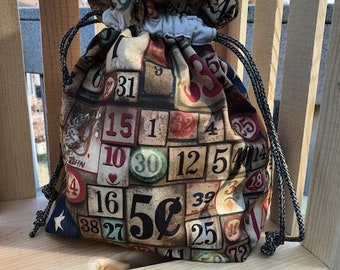 Small/Medium Knitting/Crochet Project bag. Numbers project bag