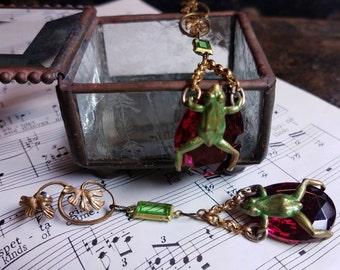 Hop To It, assemblage jewelry,handmade earrings,figural earrings, dangle earrings