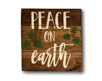 Peace On Earth Holiday Sign Christmas Decoration Rustic Wood Mantel Decor Gift Holly Art