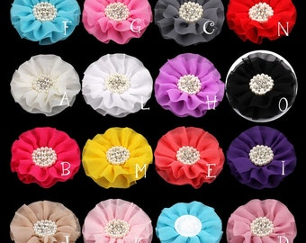 Big Chiffon Flower+Rhinestone Pearl Button For Hair Accessories Artificial Fabric Flowers For Headbands Diy Flower Supplies 4""