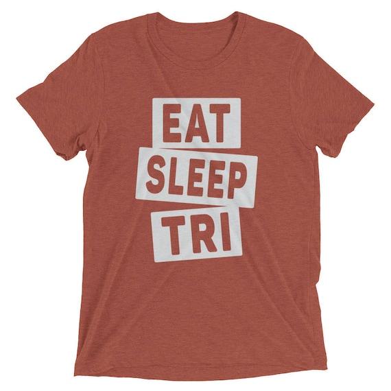 Men's Eat Sleep TRI Triblend T-Shirt - Available in 16 Different Colors - Triathlon Shirt - Swim Bike Run - Men's Short Sleeve Tri Shirt