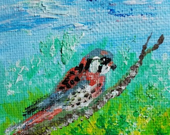 American Kestrel  (Miniature Acrylic Painting with Easel)