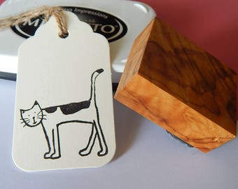 Aww, Nice Cat  Olive Wood Stamp