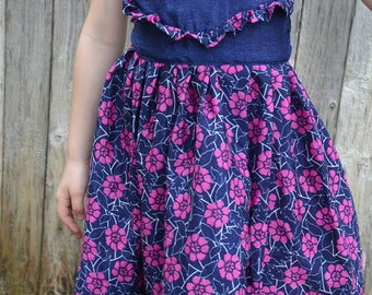 Toddler Girls Short Cap Sleeve Ruffle Sari Silk Long Dress - Navy Blue with Pink Floral - Father Daughter Matching - 4T or 5T - Enzo 3182