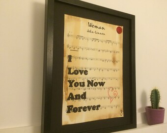 Woman, John Lennon, song lyric art, sheet music art, valentines gifts, gift for her, gift for wife, Romantic gifts, love song print,