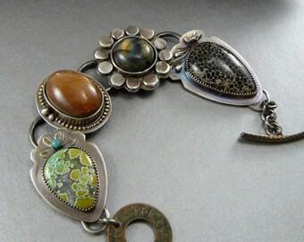 Natural Gemstone Bracelet, Sterling Silver, Labradorite, Turquoise, Sunstone, Black Fossil Coral, artisan jewelry, art, statement, unique