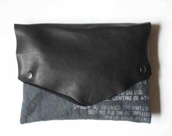 handbags , black leather, gray canvas text clutch evening bag, edgy accessories, unique pouch purse