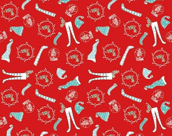 Pixie Noel - Riley Blake - Tasha Noel Fabric - #C5253-RED - Christmas Fabric - Holiday Fabric - Christmas in July - IN STOCK