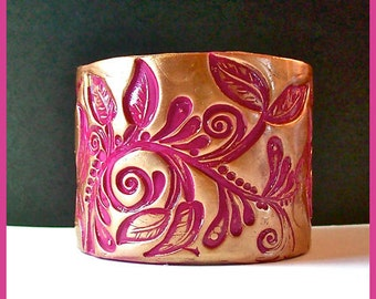 Cuff Bracelet Polymer Clay 2 in Fuchsia & Gold  Magnetic Clasp
