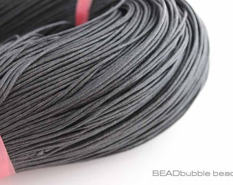 1.5mm Black Waxed Cotton Cord x 5 metres (approx 16ft), Cord for Jewelry Making
