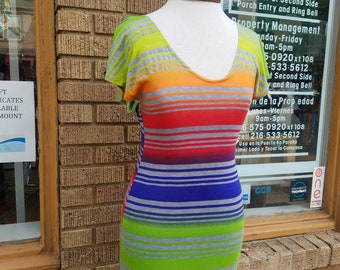 Striped Rainbow Knit Dress with Flutter Sleeves and Fitted Shape