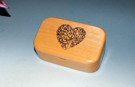 Handmade Wooden Box - Wood Box In Alder with Laser Engraved Tree of Life Heart - Small Wood Box, Business Card Box, Wooden Box, Tree of Life