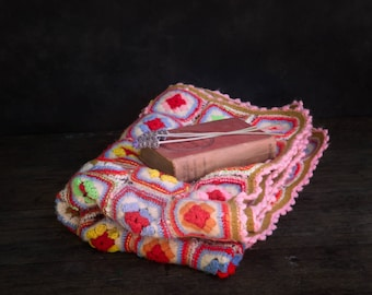 Vintage Hand Crocheted Baby Blanket, Afghan, Throw, Cot Size,