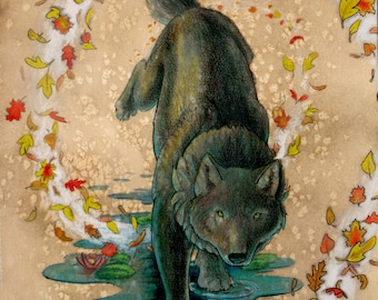 Fantasy Water Black Wolf 11X14in POSTER PRINT
