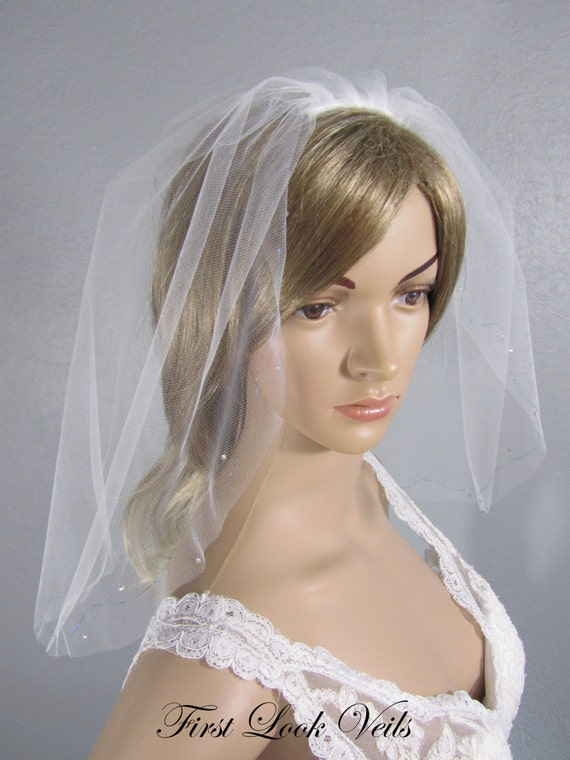 Wedding Veil, Bridal Veil, Shoulder Veil, Blue Accent, Handmade, Bride, Accessory, Gift