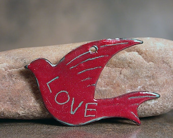 Enameled Copper Bird Pendant Focal Bead, Sgraffito Pendant, LOVE, Divine Spark Designs, SRA