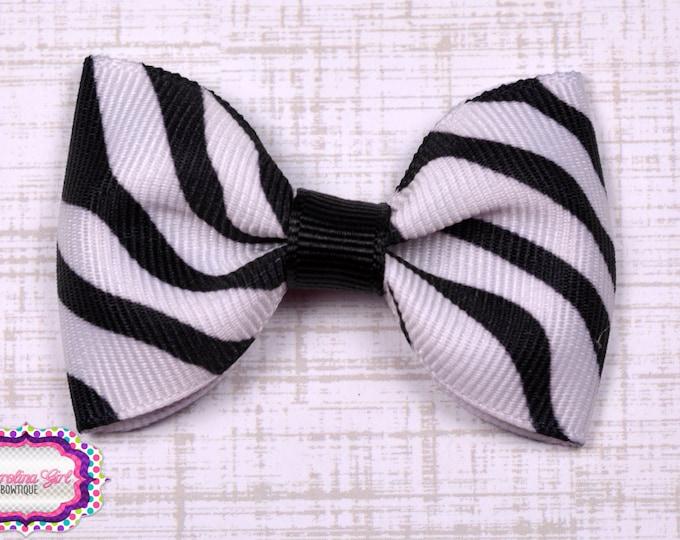 "Zebra Tuxedo Bow  ~ 2.5"" Hairbow ~ Small Hair Bow ~ Girls Barrette ~ Toddler Bow ~ Baby Hair Bow ~ Hair Clip ~ Girls Hair Bow"