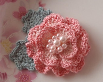 Crochet Flower in 2.5 inches In Lt Pink, Pink YH-128-02