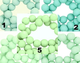 Beads 6 mm 100 pcs. per pack glass touch Mint tones Matt Acrylic Beading Supplies for Jewelry DIY Making