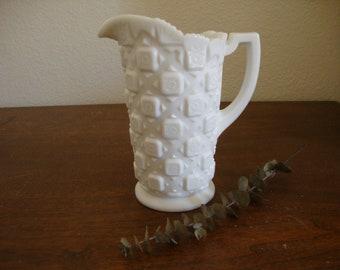 Vintage WESTMORELAND White Milk Glass PITCHER - Old Quilt floral block & star Pattern - Flower Vase - Minimalist - Farmhouse