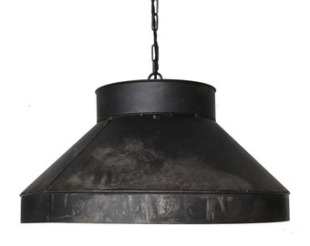 "LARGE 22"" Black steel ductwork pendant kitchen pendant island light dining room FREE SHIPPING"