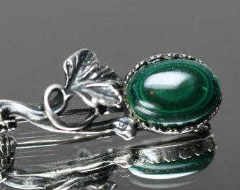 Vintage Sterling and Malachite Floral Brooch/Pin