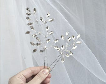 Rhinestone hair pins X2 wedding hair pin silver bridal hair pins leaf hair pins bridal headpiece wedding hair piece wedding accessories