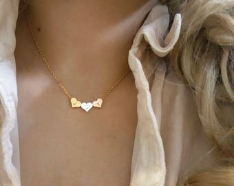 Delicate Petite 3 Heart necklace, 3 Heart charm necklaces,Layering necklace, Tiny Necklace ,Bridesmaid Gift, valued gift