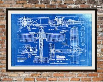 Blueprint Art of Plane Fairey Swordfish Mk2 Technical Drawings Engineering Drawings Patent Blue Print Art Item 0006