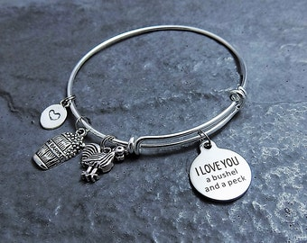 I Love You a Bushel and a Peck - Charm Bracelet - Mothers Day Gift - Gift for Her - Expandable Bangle - Engraved Bracelet - Chicken Charm