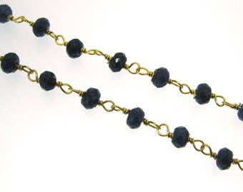 Rosary Chain Wholesale-Sterling Silver Rosary Chain- Blue Sapphire Dyed Rosary Chain Bulk Unfinished-Gold Plated Rosary Chain-SKU:101207_BSH