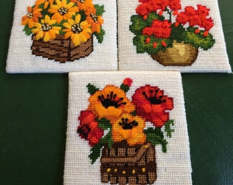 Three Needlepoint Flower Pictures
