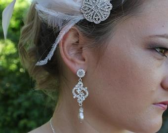 Champagne Wedding Earrings, Crystal Earrings, Chandelier Bridal Earrings, Bridal Jewelry, REBECCA