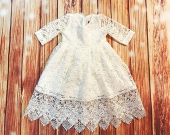 Ivory gorgeous lace baptismal dress, organic cotton christening dress, christening gown, lace baby girl's baptism gown, ivory church dress