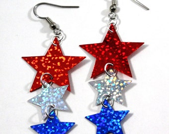 Patriotic Star Spangle Earrings Red Silver/ White & Blue Hologram Dangles Plastic Sequins