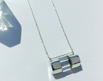 Sterling Silver Quartz Bar Necklace- Crystal Necklace- Sterling Silver Necklace- Layering Necklaces- 18 inch Necklace