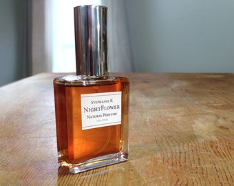 Nightflower, a Natural Perfume oil with Indian Jasmine, rich woods & resins - sensual floral fragrance gift for her