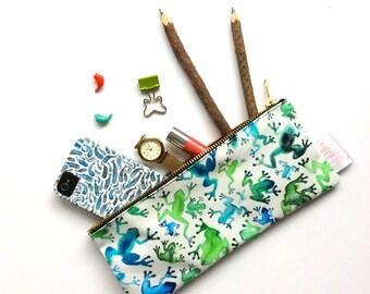 Pencil Case, Pencil Pouch, Frog, Make Up Bag, Rio, Small Bag, Zipper Pouch, Pouch, Bag, pencil bag, cute pencil case, organiser, storage,