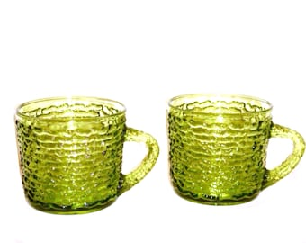 Soreno Avocado Green Glass Cups,Set of 2,Mid Century Glass,Anchor Hocking Vintage Cups,Replacement Punch or Snack Cups