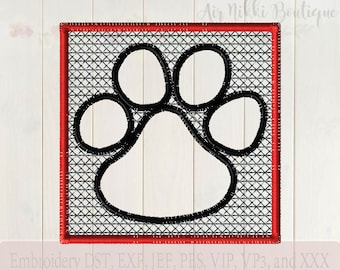 Embossed Paw 4X4, instant download, files dst, exp, jef, pes, vip, vp3, xxx, embroidery file