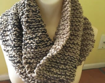 Hand Made Knit Chunky Infinity Scarf Cowl Wrap Beige + Brown