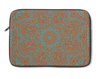 Mandala Orange And Aqua Laptop Sleeve
