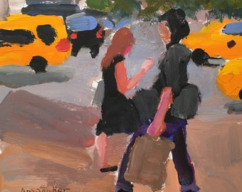 "Art and collectibles, original art painting streetscape, acrylic on paper, 6x6"" painting, christine parker, figurative, modern impressionist"