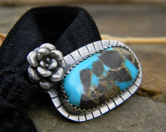Blue Moon Turquoise Ponytail holder with sterling silver succulent - oxidized and brushed sterling silver