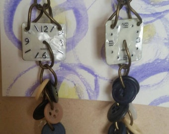Steampunk Vintage button and watch fave dangle earrings