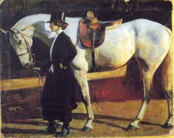 Munnings Horse and Rider Painting Print On Canvas Ready to Hang Museum Quality