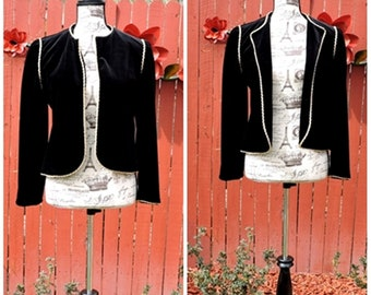 Black velvet jacket / Vintage 80s black with gold trim velvet blazer /  formal evening statement jacket / size S / M